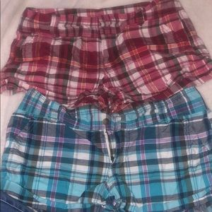 Blue and pink plaid shorts $20 for both shorts